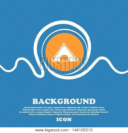 The Tent Icon Sign. Blue And White Abstract Background Flecked With Space For Text And Your Design.