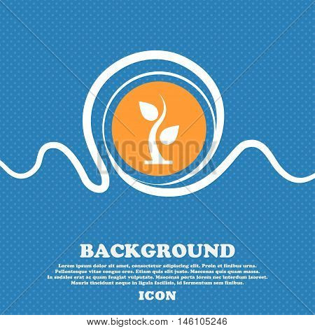 Sprout Icon Sign. Blue And White Abstract Background Flecked With Space For Text And Your Design. Ve