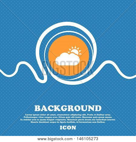 Partly Cloudy Icon Sign. Blue And White Abstract Background Flecked With Space For Text And Your Des