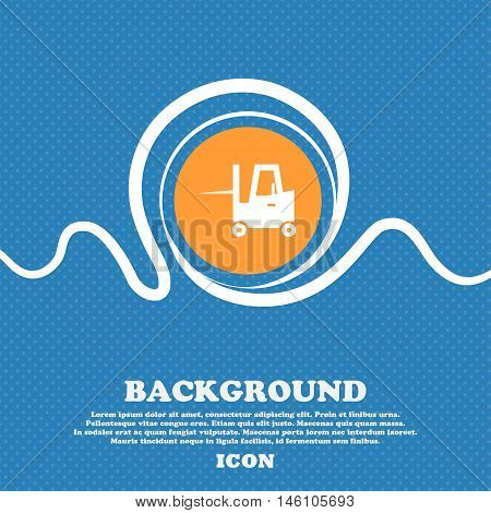 Forklift Icon Sign. Blue And White Abstract Background Flecked With Space For Text And Your Design.