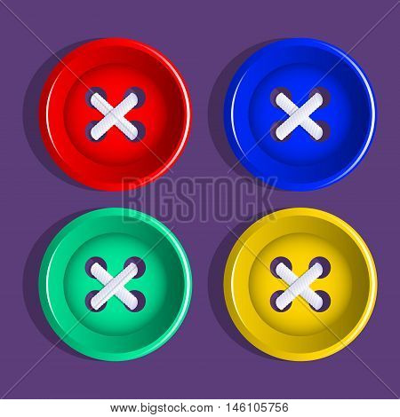 Buttons. Multi colored plastic buttons. Vector Image.