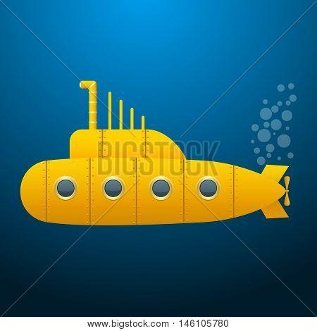 Yellow Submarine . Blue background. Wallpaper. Cartoon style. Vector Image.
