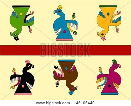 Parrots. Ethnic pattern in the style of Native Americans: the Aztecs, the Incas, the Mayans. Mexican pattern. Vector illustration.