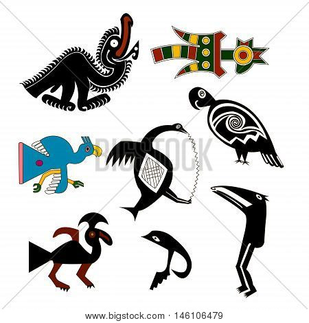 Cock, parrot, vulture, a hummingbird, a goose - a set of images of birds. Ethnic pattern in the style of Native Americans: the Aztecs, the Incas, the Mayans. Mexican pattern.