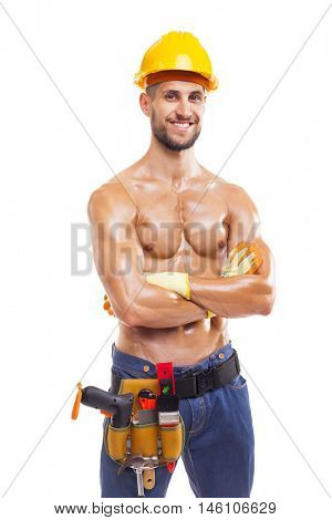 Smiling muscular worker with arms crossed, isolated on white background