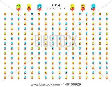 Great set of 224 emotions isolated on white background. Characters smile Emoji for Web. Anger and compassion. Laughter, tears. Smile sadness surprise. Happiness fear.