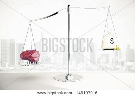 Abstract polygonal brain on silver scales outweighing money sack on city background. Knowledge concept. 3D Rendering