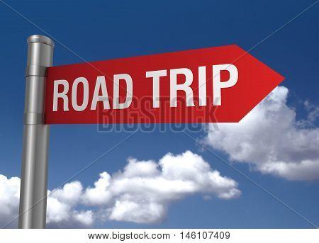road trip sign 3d concept illustration on sky background