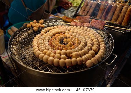 E-Saan Sausage, the native food sold on Warorot market, Chiang Mai, Thailand.