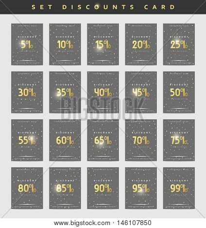Set design discounts . Discounts price tag. Golden discount. Black Friday. Clearance Sale. Discount coupon. Sale discount. Discount from 5 to 99 . Discount gold.