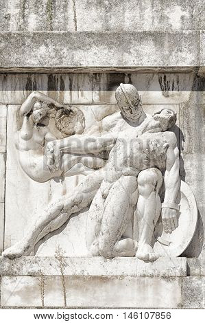 Bas-relief and sculpture of ancient Roman soldiers with war scenes Carrara marble