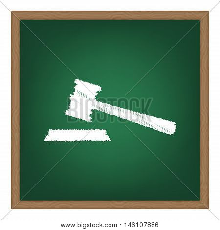 Justice Hammer Sign. White Chalk Effect On Green School Board.