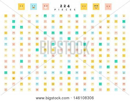 Great set of 224 color emotion isolated on white. Cute emoji. Anger and compassion. Laughter and tears. Smile and sadness, surprise. Happiness and fear. Emotions for Web development.