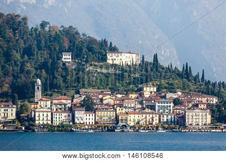 Bellagio, Italy 23.10.2015  Beautiful old Bellagio town at Como lake, Italy. Summer sunny day.
