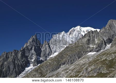 overview of the Mont Blanc, the Aiguille Blanche and Aiguille Noire.