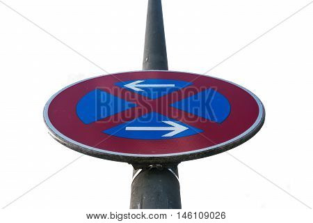 Both Directions Ways Traffic Sign European Isolated White Background