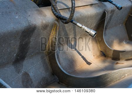 Bulldozer Digger Shovel Hose Disconnected Detail Close Industrial