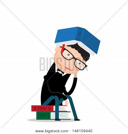 man sits on books in the pose of a thinker and thinks