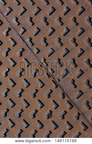 Metal Manhole Cover Steel Heavy Industrial Rusty Texture Background