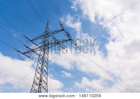 Metal Structures Tower Power Lines Perspective Daytime Blue Sky