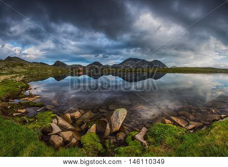 Panoramic View Of Kamenitsa Peak And Tevno Lake,  Pirin Mountain In Bulgaria