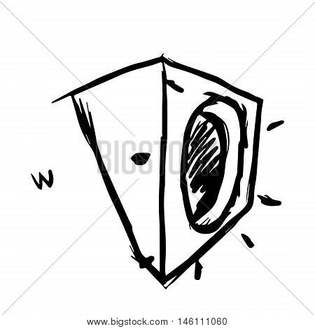 Sketchy washer on white background. Vector illustration. Free hand drawn.