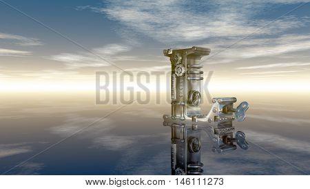 machine letter l under cloudy sky - 3d illustration