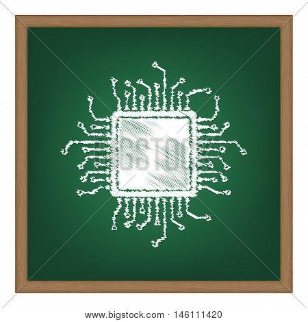 Cpu Microprocessor Illustration. White Chalk Effect On Green School Board.