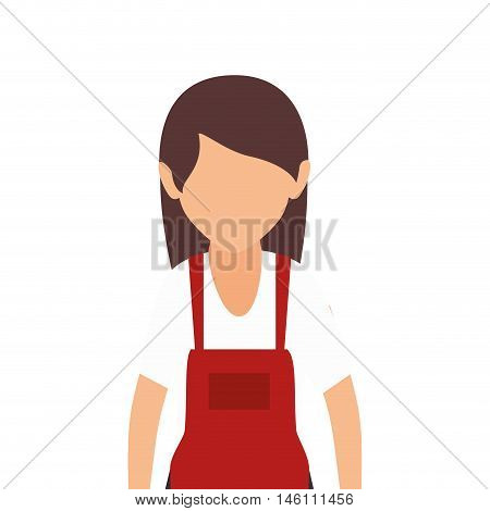 avatar female woman wearing red apron vector illustration
