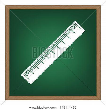 Centimeter Ruler Sign. White Chalk Effect On Green School Board.