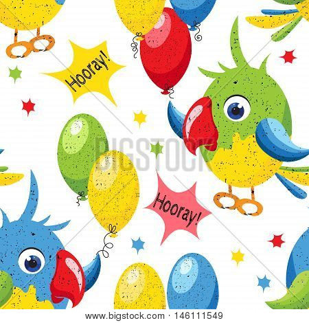 Seamless pattern with cartoon parrots and balloons. Cheerful children's background. Vector illustration.