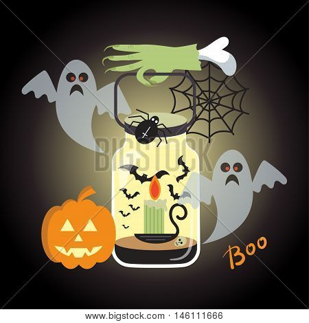 Halloween background with zombie hand with lantern pumpkin head and ghosts on a black background. Vector illustration.