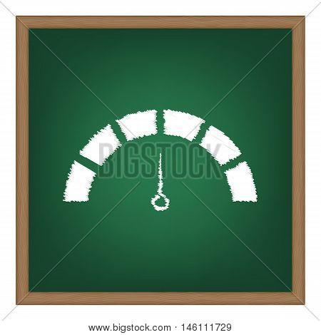 Speedometer Sign Illustration. White Chalk Effect On Green School Board.
