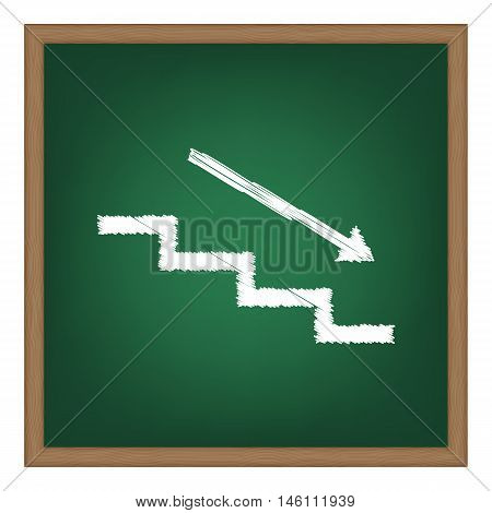 Stair Down With Arrow. White Chalk Effect On Green School Board.