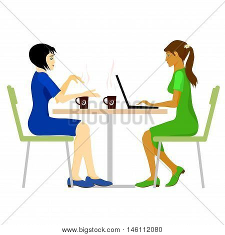 Infographics: women are sitting in a coffee shop. The girl in a blue dress offering a cup of coffee to her friend. The girl in the green dress typing on a laptop.