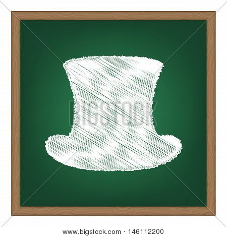 Top Hat Sign. White Chalk Effect On Green School Board.