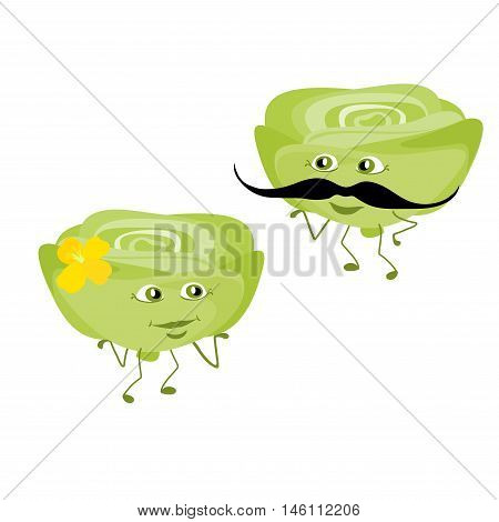 Set of cabbage cartoon characters with mustache and flower. On the head of the female character has a flower.