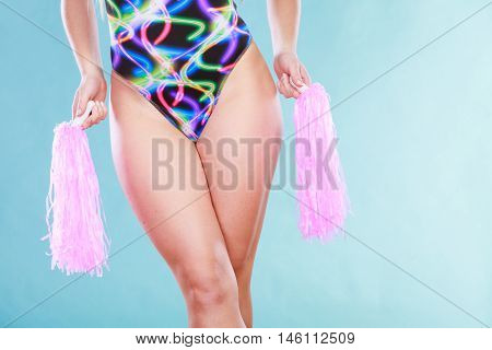 Woman Girl In Swimsuit With Pom Poms.