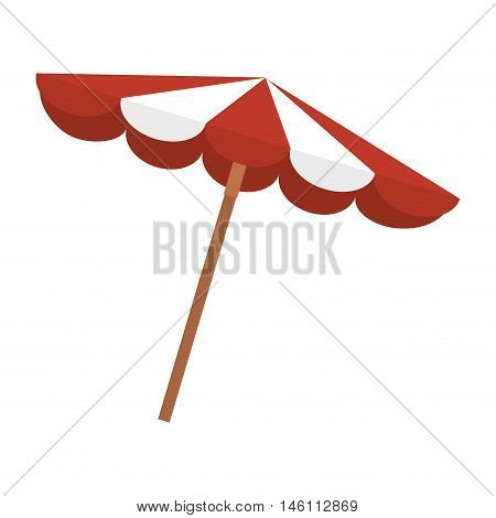 red and white striped beach parasol summer object. vector illustration