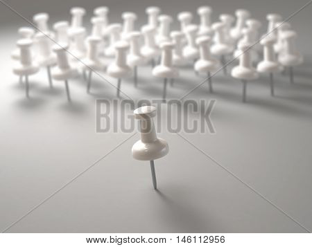 3D illustration. White pin in front of everyone in the concept of leadership.