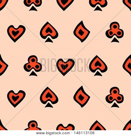 Seamless vector pattern with icons of playings cards. Background with black and red hand drawn symbols. Decorative repeating ornament. Series of Gaming and Gambling Seamless Patterns.
