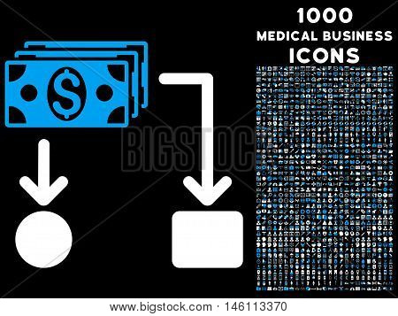 Cashflow raster bicolor icon with 1000 medical business icons. Set style is flat pictograms, blue and white colors, black background.