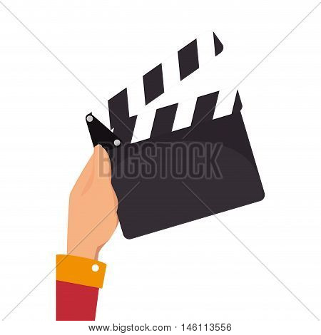 hand holding  a clapboard. action cinema entertainment. vector illustration