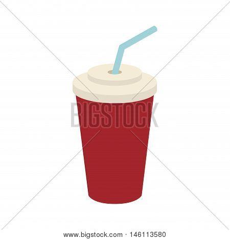 disposable cup with drinking straw. paper beverage container. vector illustration