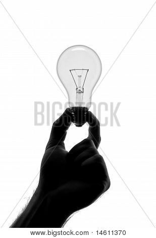 Silhouette Of Hand Holding Bulb