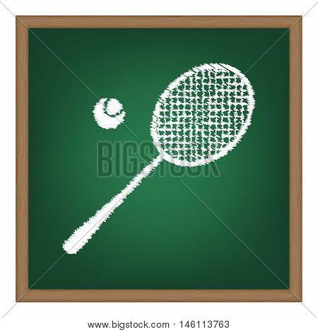 Tennis Racquet Sign. White Chalk Effect On Green School Board.