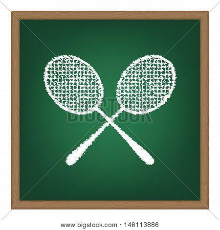Tennis Racquets Sign. White Chalk Effect On Green School Board.
