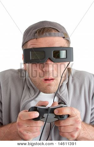 poster of Surprised Player With Joystick And 3-d Glasses