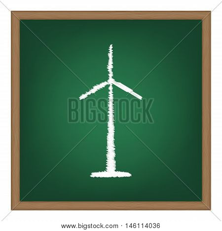 Wind Turbine Logo Or Sign. White Chalk Effect On Green School Board.