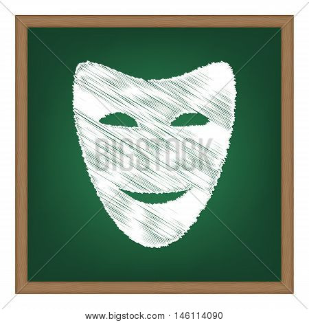Comedy Theatrical Masks. White Chalk Effect On Green School Board.
